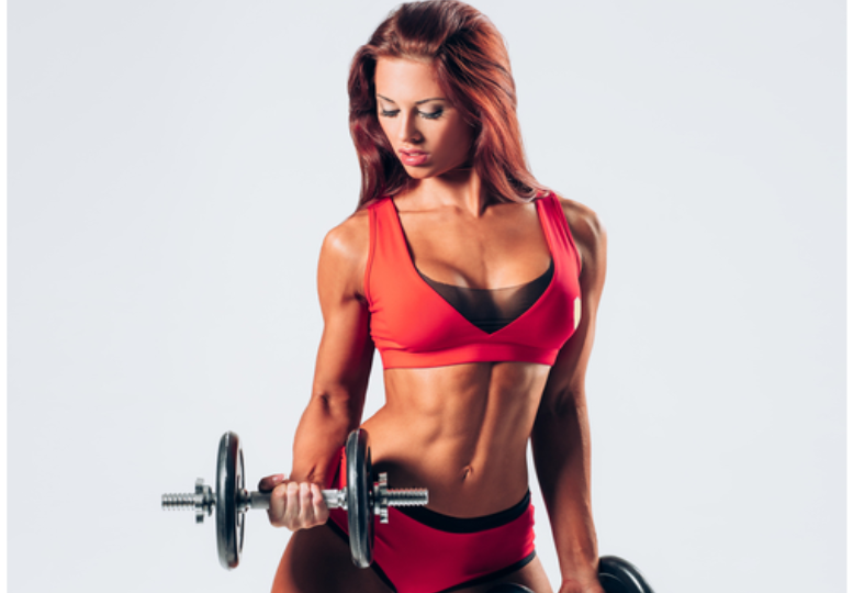 Beautiful Woman Lifting Weight